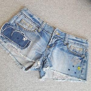 Boho Embellished / Embroidered Cutoff Denim Shorts